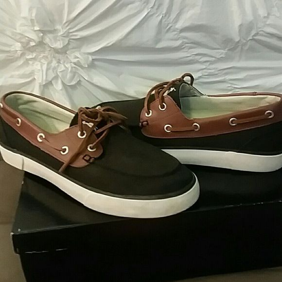 Ralph Lauren boat shoes men size 8.5/ws 10 Black and brown boat shoes with leather laces, worn twice. Ralph Lauren Shoes