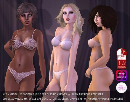 "alaskametro<3 ""Basix"" underwear - ""Clarity"" pale pink (appliers for Slink, Omega & #themeshproject)"