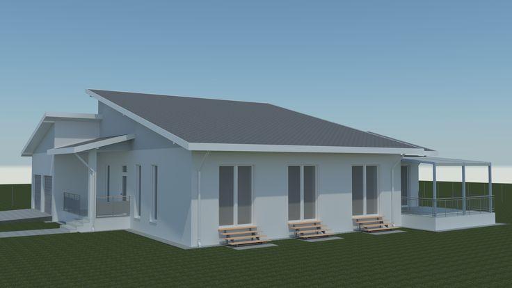 Családiház-tervezés három dimenzióban Déli homlokzat késő tavaszi napfényben. A déli tető felülete szándékosan lett ekkora, hogy megfelelő helyet biztosítsunk a megújuló energia előállításának. Napkollektoroknak és napelemeknek.
