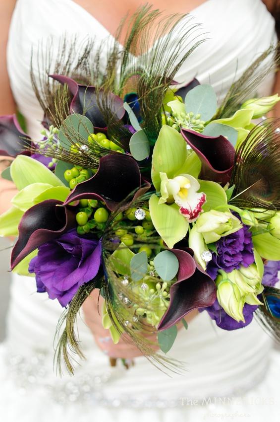 Purple & Green Bouquet, Peacock Feather, Peacock Wedding  www.significanteventsoftexas.com