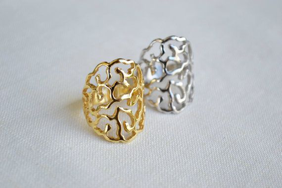Filigree ring Sterling silver ring Gold Ring Rose by SoCoolCharms