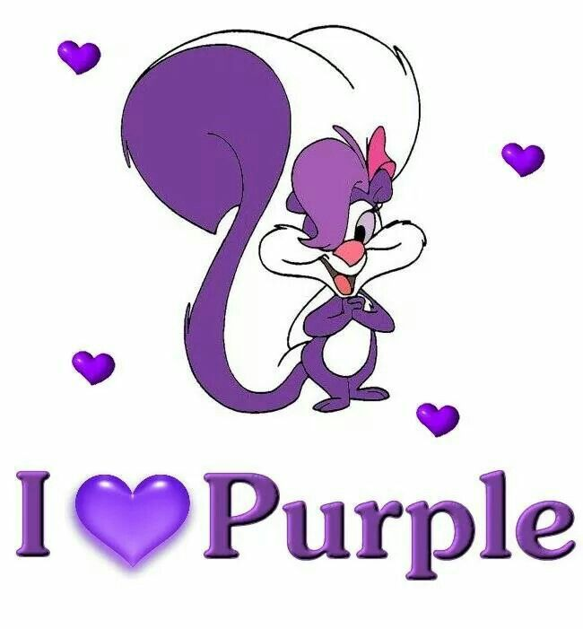 I Love Purple.  Fifi La Fume is a purple and white female skunk cartoon character from the Warner Bros. animated television series, Tiny Toon Adventures.