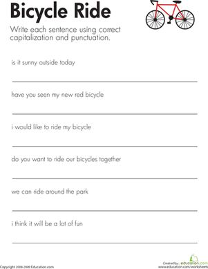 fix the sentences bicycle ride general school ideas punctuation worksheets 2nd grade. Black Bedroom Furniture Sets. Home Design Ideas