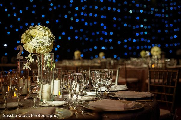 Glamorous indian wedding reception floral and decor at Moon Palace Cancun