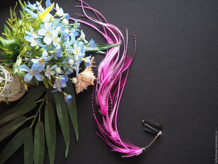 Брусника - розовые перья для волос на съемной заколке бохо - полосатый, перо, перья