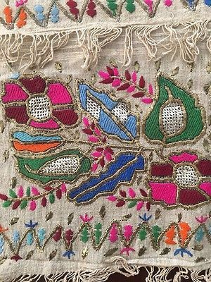 ANTIQUE OTTOMAN-TURKISH SILK & GOLD METALLIC HAND EMBROIDERY ON LINEN N1