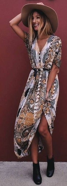 #summer #mishkahboutique #outfits | Printed Maxi Dress