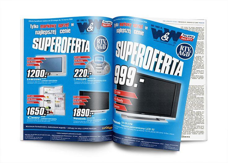 Layout reklam prasowych oraz gazetek promocyjnych dla sieciqqqqqsalonów RTV AGD W&W.