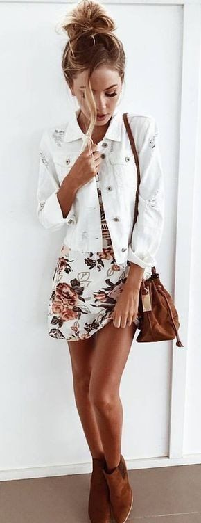 summer outfits White Denim Jacket + Floral Dress