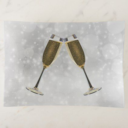 Champagne Glasses Celebration Gold on Silver Trinket Trays - anniversary gifts ideas diy celebration cyo unique