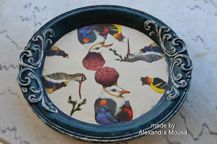 wooden tray decorated with acrylic paints and decoupage