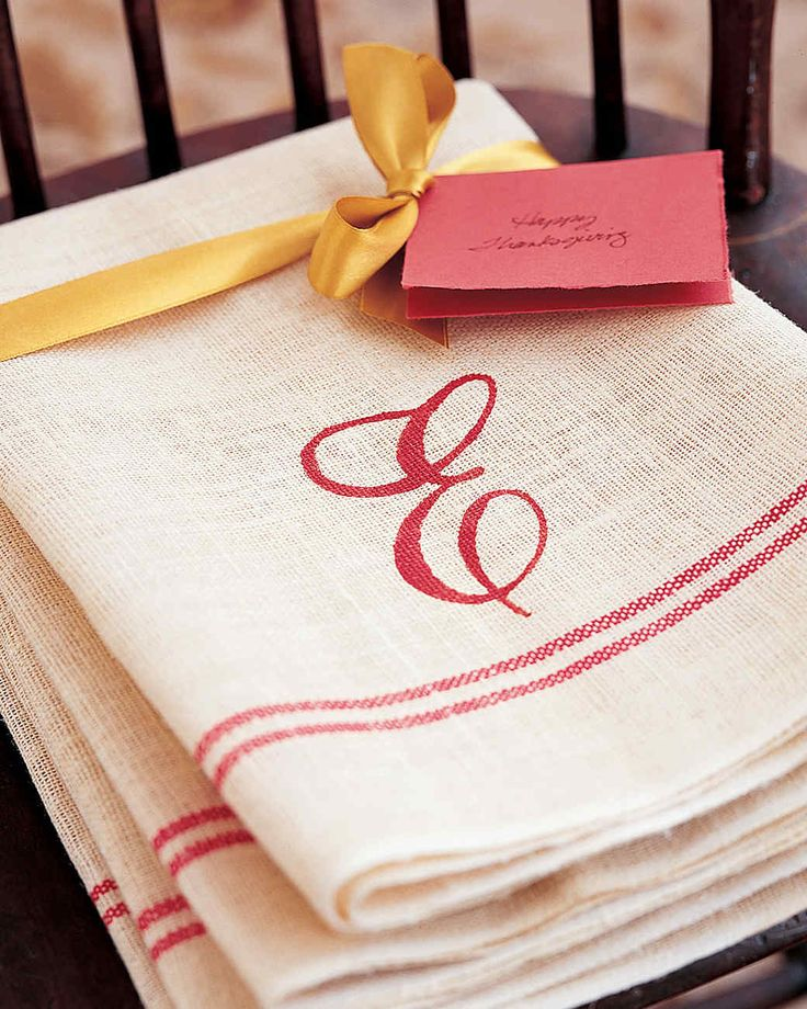 A present bearing a hand-painted monogram shows affectionate effort. Use a set of hand towels and a letter stencil. Lay towel over a sheet of paper. Center stencil on towel and, holding it firmly, apply two coats of washable fabric paint with a medium-size brush. Remove stencil, and let dry, about three hours.