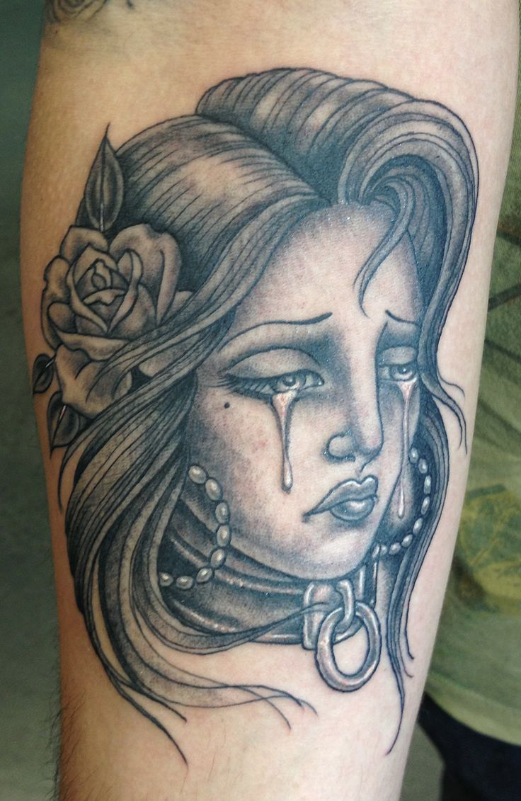 how to draw a crying girl tattoo
