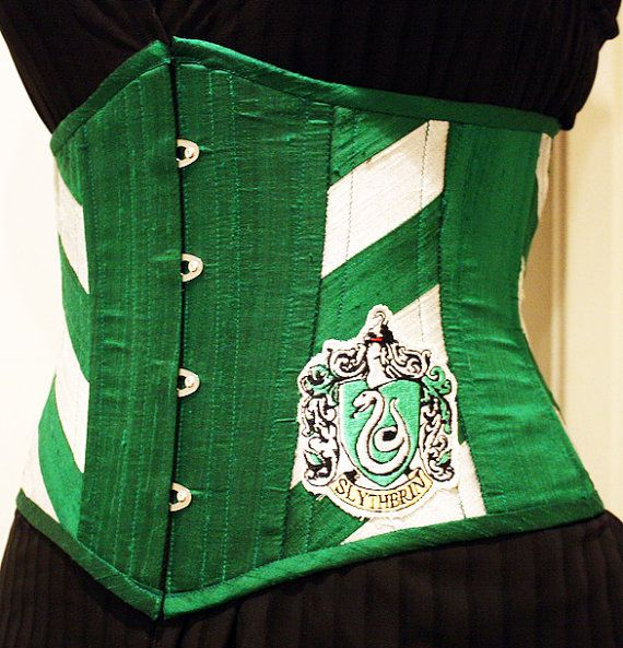 Slytherin Waist Cincher by castlecorsetry on Etsy,ok this one is my fave I love a waist cincher lol