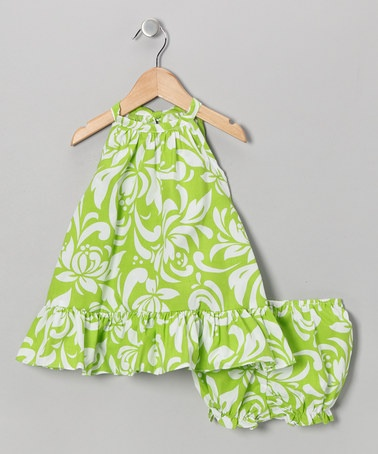 Take a look at this Green Hawaiian Halter Dress & Bloomers - Infant & Toddler by RJC Girls on #zulily today!