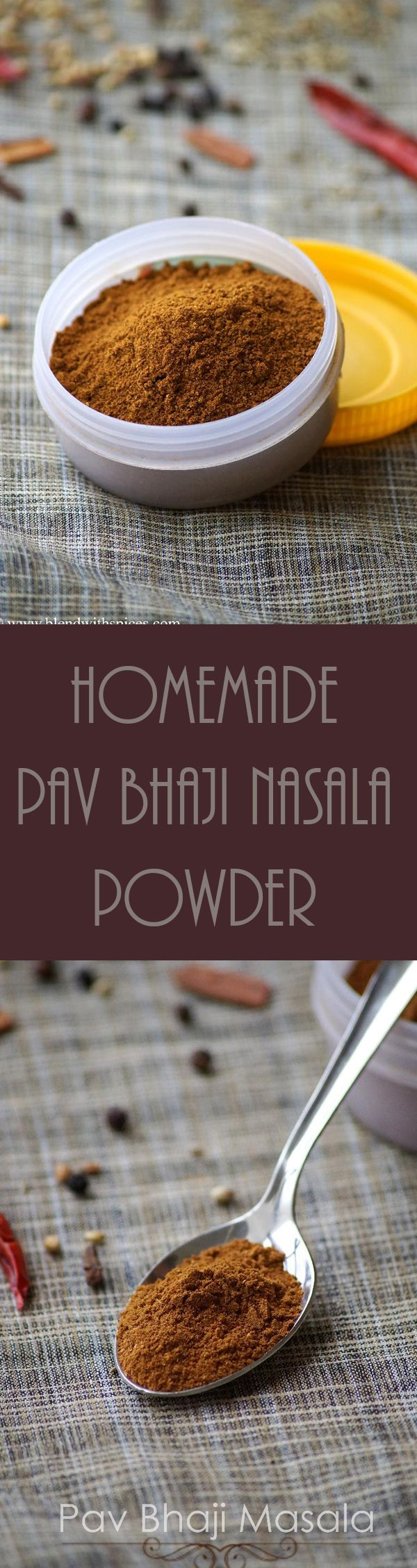 How to make Pav Bhaji Masala Powder at home - Homemade spice blend for pav bhaji, masala pav and tawa pulao. Step by step recipe. blendwithspices.com
