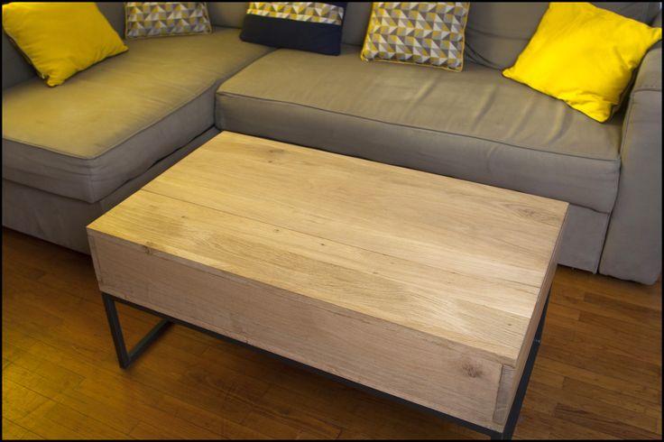 Table basse ch ne plateau relevable tables - Table plateau relevable ...
