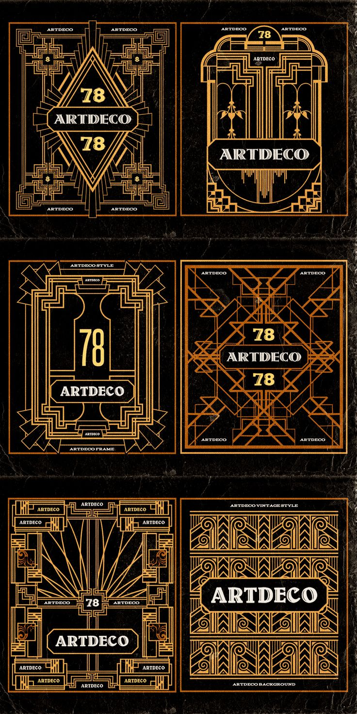 11 ArtDeco Badges & Frames by Cruzine on Creative Market