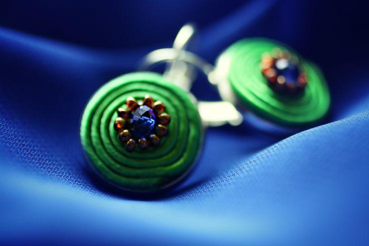 Green and Blue soutache earrings  18mm diameter
