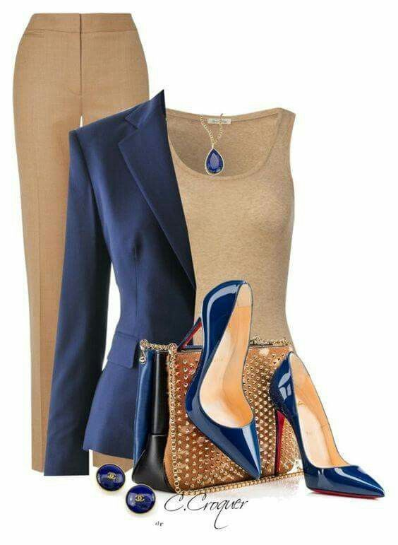 I love the professional look, yet the deep blue pendant is such a beautiful touch. Shoes would be out though... :)