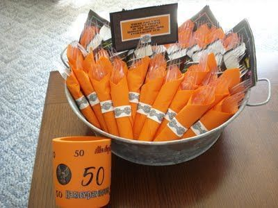 Harley Davidson themed silverware presentation. See more 50th birthday party supplies and party ideas at www.one-stop-party-ideas.com