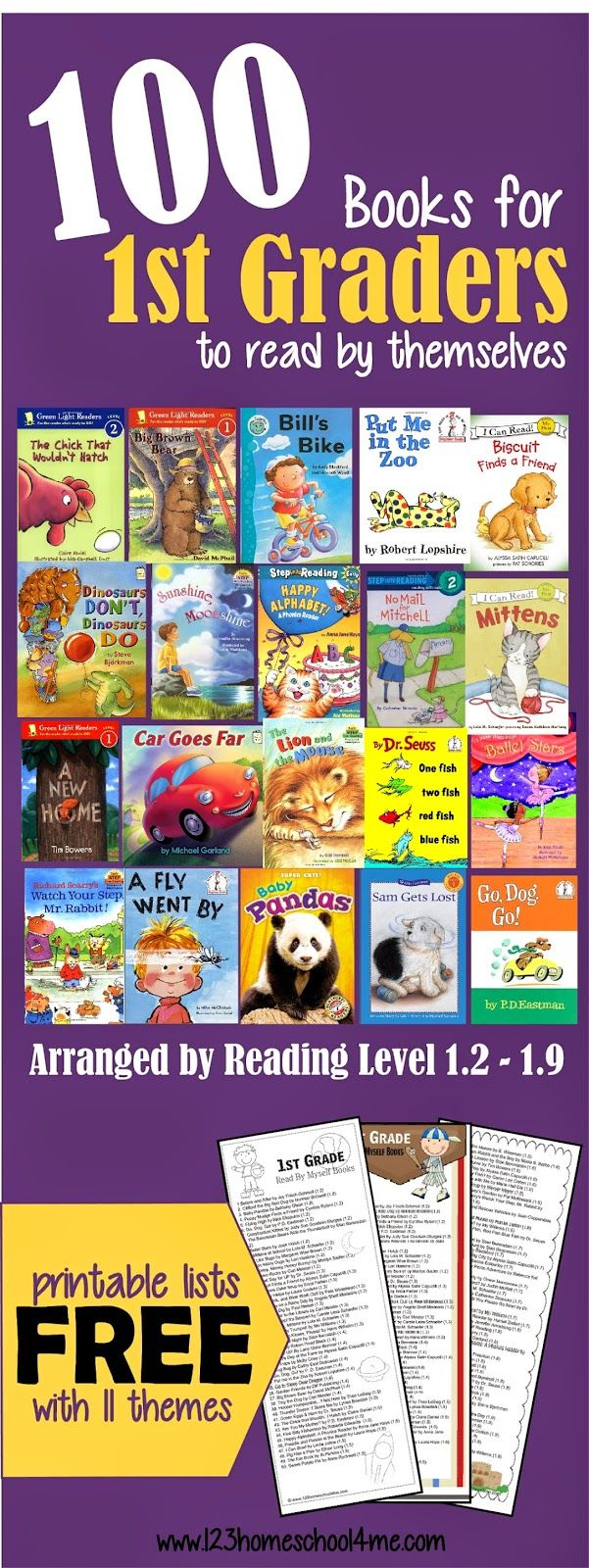 100 Books for 1st Graders to Read by themselves sorted by reading level 1.2 - 1.9! Includes free printable bookmark with 1st grade book list! #reading #1stgrade