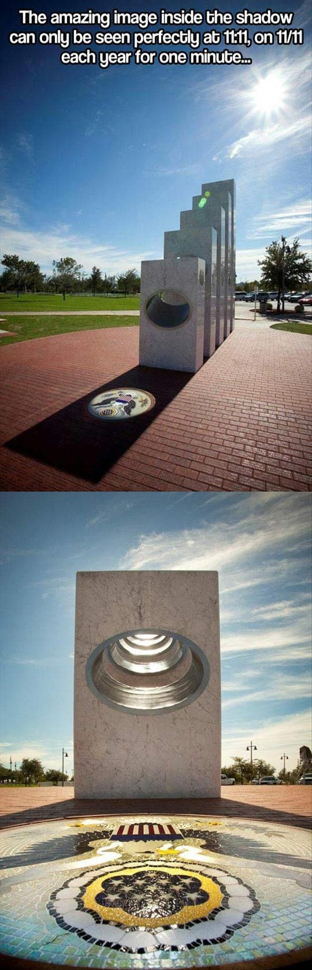 Dedicated on 11/11/11 at 11:11 Am. The Anthem Veterans Memorial in Anthem Arizona was funded mostly by donations: