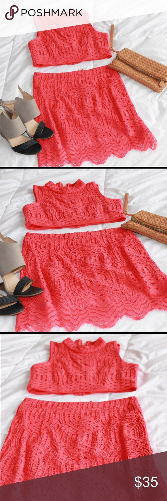 Fun and Bright Crochet Crop Top and Skirt Combo This cute crochet crop top and skirt combo in bright coral can make a night out a little more fun. Crystal Doll Dresses Mini