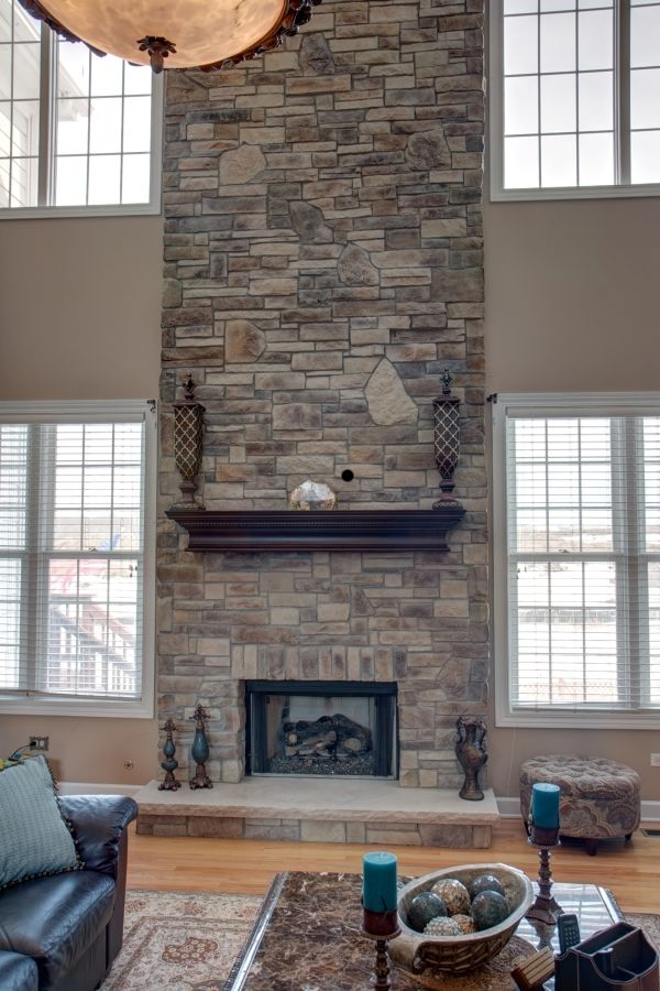 2 story family room with stone fireplace | family room you have more options our most popular blend of stone ...