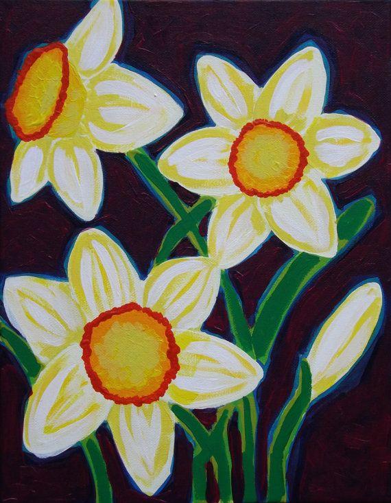 Daffodils    Original painting by STUCKY by STUCKYOUTSIDERART, $60.00