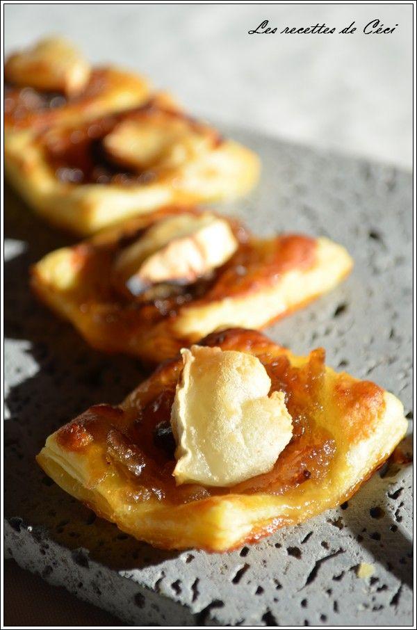 Bouchées feuilletées au confit d'oignons, magret séché et fromage de chèvre - apéro