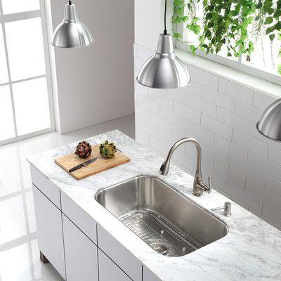 "Kraus Stainless Steel 16 Gauge Undermount 31.5"" Single Bowl Kitchen Sink & Reviews | Wayfair"