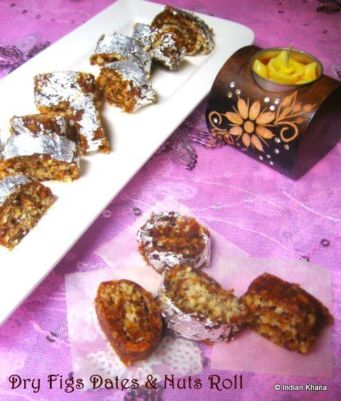 Anjeer Khajoor Chakra Dry Figs Dates n Nuts Roll-Recipe . For Deepavali 2013