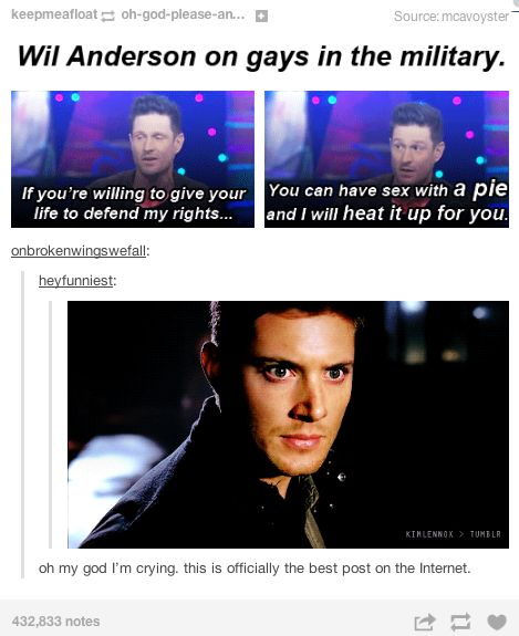 Cas was willing to give up his life to defend Dean... you can have sex with *pie* and I will heat it up for you.