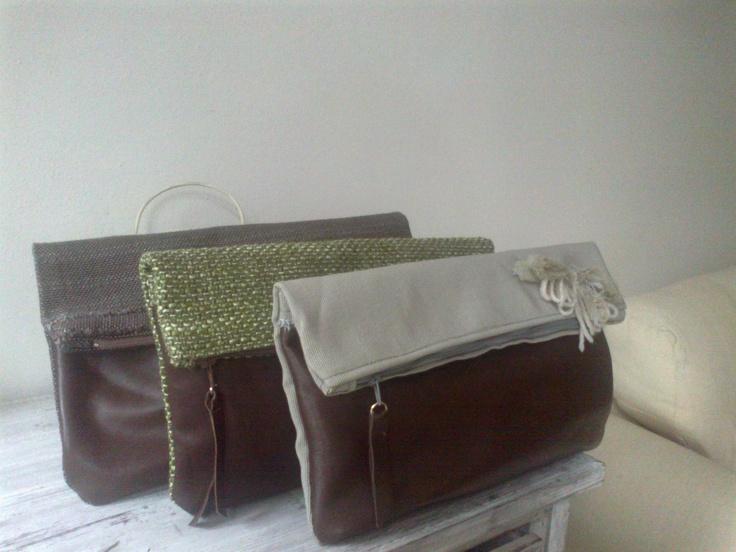 My works: Pochette realizzate con pelle e tappezzerie