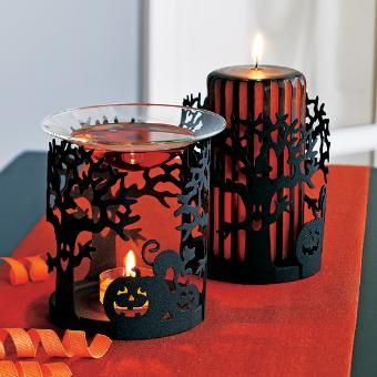 trick or treat fragrance warmer or pillar holder for halloween decorating - Metal Halloween Decorations