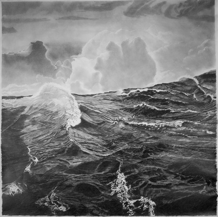 """francisco faria - """"o caminho da floresta para o mar III: mar alto"""", 2016 grafite sobre papel 150 x 150 cm (parte lateral de um triptico de 1,5 x 4,5m) [""""the path from the forest to the sea (III): high seas"""", 2016 graphite on paper 150 x 150 cm (side panel of a triptych)]"""