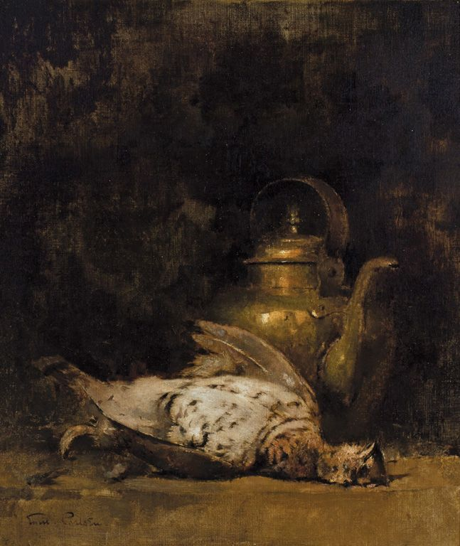 """Still Life with Fowl and Urn,"" Emil Carlsen, oil on canvas, 22 x 20"", private collection."