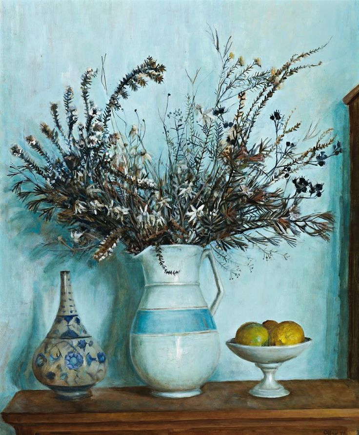 MARGARET OLLEY  HAWKESBURY WILDFLOWERS WITH LEMONS, 1971101.5 x 83.5 cm  oil on composition board