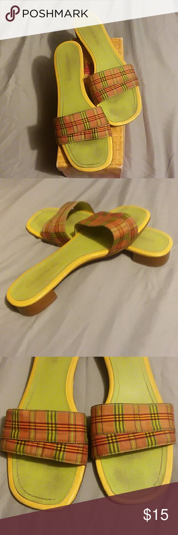 Caribbean Joe slides (10) Cute green and orange summer slides, worn a few times, you need these in your closet. Caribbean Joe  Shoes Sandals
