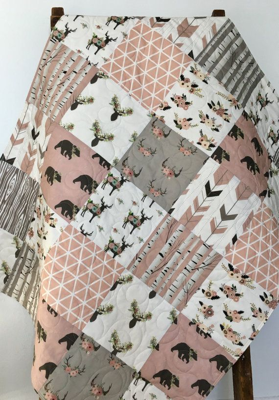 Birch Tree Baby Quilt Girl Woodland Deer Crib Bedding by CoolSpool