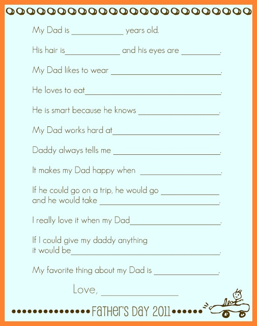 Father's Day keepsake records child's innocent answers to questions about what makes Daddy so great. Super cute!