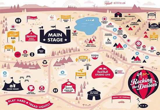 Rocking the Daisies Festival in Cape Town. Orientation map of the 2012 event. Click here for more info!