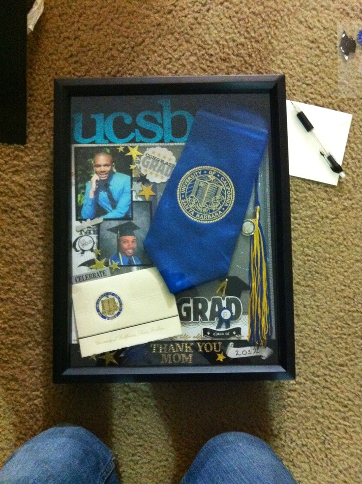 Shadow Box For My Mom With All My College Graduation Stuff