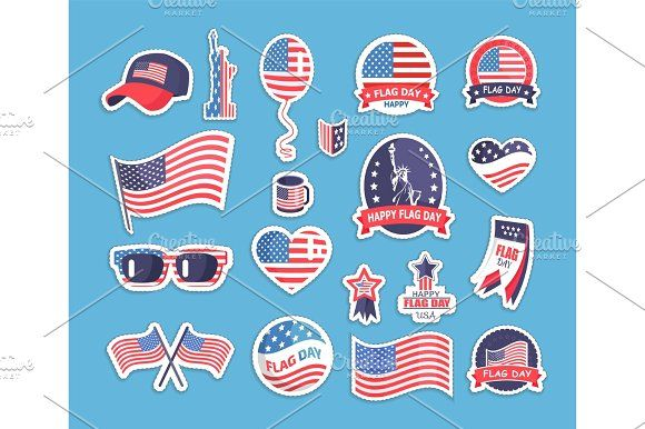 Flag Day Of The Usa Themed Souvenirs Collection Calendar Vector Inspirational Illustration Flag
