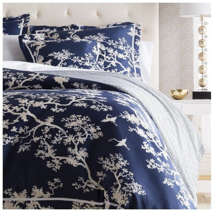 Navy Blue Branch Duvet Bedding Set Oriental Design