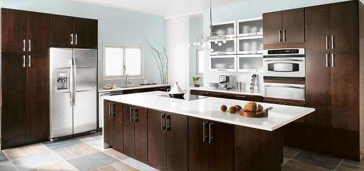 Contemporary blythe cherry chocolate cabinetry from for Kitchen cabinets 999