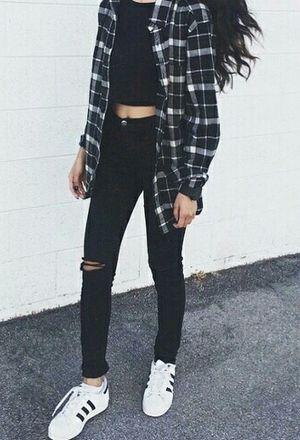 look by ylek with sneakers adidas jeans cardigans grunge