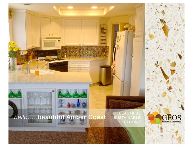 GEOS Recycled Glass Surfaces In Amber Coast.