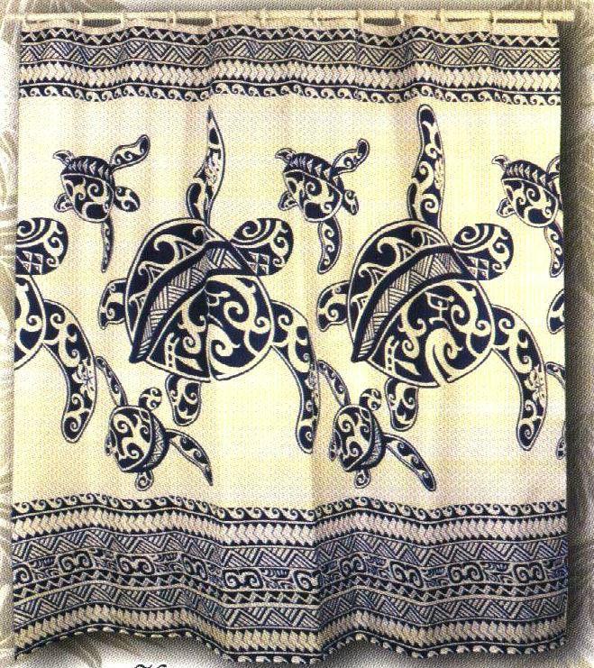 Good Honu Hawaiian Quilt Print Hawaii Bathroom Fabric Shower Curtain BLUE